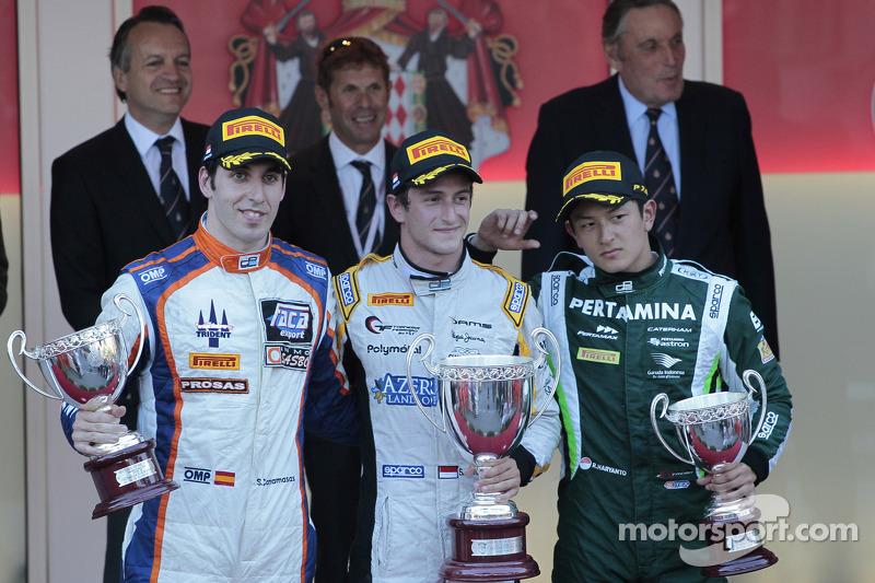 Podium: race winner Stephane Richelmi, second place Sergio Canamasas, third place Rio Haryanto