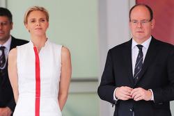 HSH Prince Albert of Monaco, with his wife Princess Charlene of Monaco, on the podium