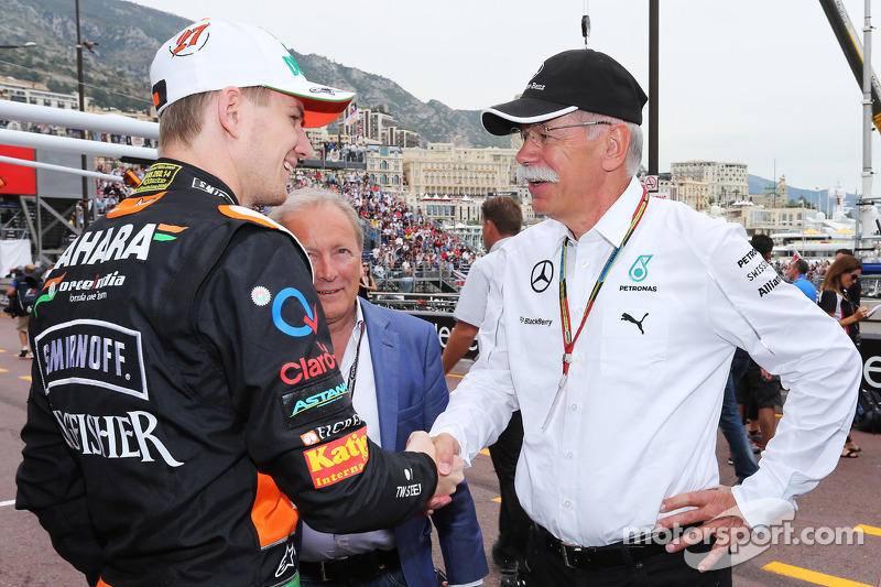 (L to R): Nico Hulkenberg, Sahara Force India F1 with his manager Manfred Zimmerman, CMG and Dr. Dieter Zetsche, Daimler AG CEO