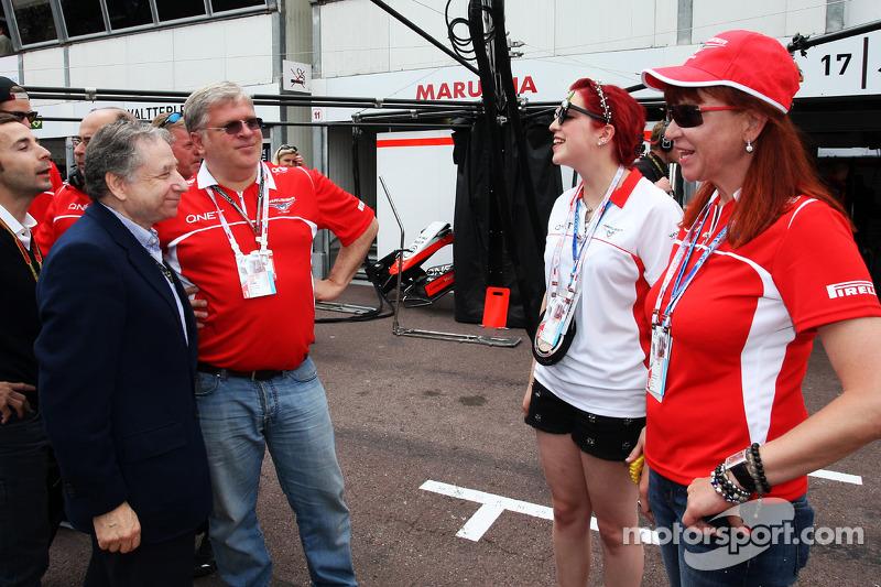 Jean Todt, presidente della FIA con Andrei Cheglakov, Marussia Team Owner; Sasha Cheglakov, Proprietario Marussia Team e Anya Cheglakov,