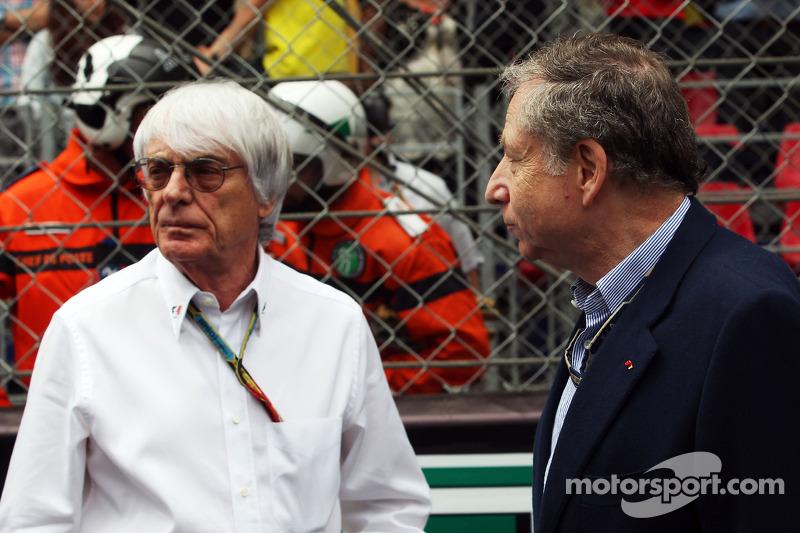 (L to R): Bernie Ecclestone, with Jean Todt, FIA President on the grid