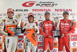 GT500 winners Tsugio Matsuda and Ronnie Quintarelli and GT300 winners Shinichi Takagi, Takashi Kobayashi