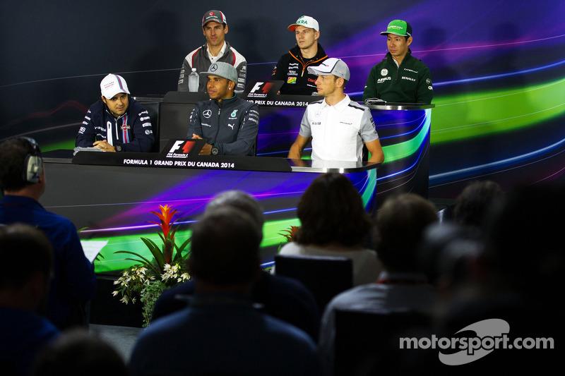 FIA-Pressekonferenz: Adrian Sutil, Sauber; Nico Hülkenberg, Sahara Force India F1; Kamui Kobayashi, Caterham; Felipe Massa, Williams; Lewis Hamilton, Mercedes AMG F1; Jenson Button, McLaren