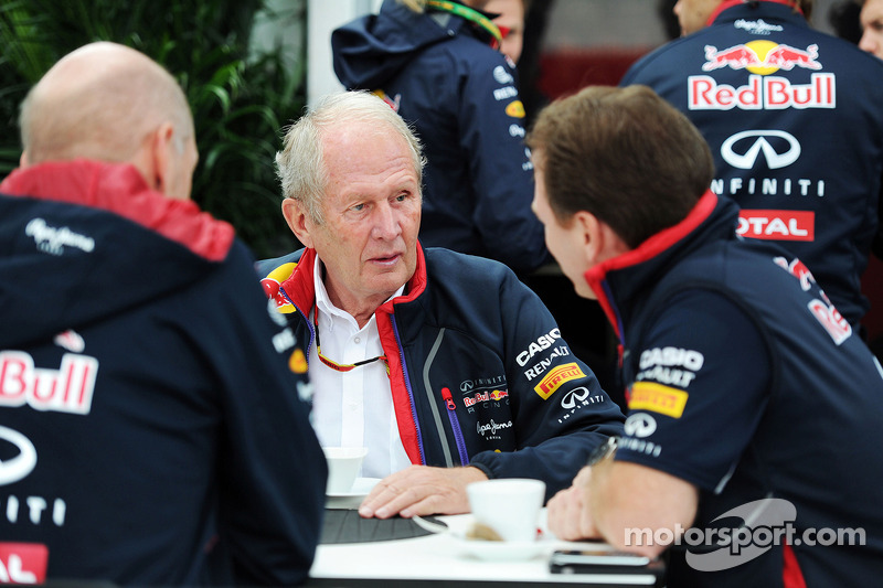 (L to R): Adrian Newey, Red Bull Racing Chief Technical Officer with Dr Helmut Marko, Red Bull Motorsport Consultant and Christian Horner, Red Bull Racing Team Principal
