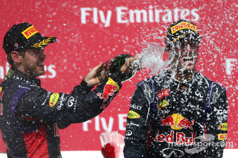 3rd place Sebastian Vettel, Red Bull Racing with 1st place Daniel Ricciardo, Red Bull Racing RB10