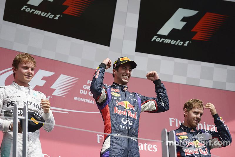 Daniel Ricciardo, Nico Rosberg ve Sebastian Vettel podyumda kutlama yapıyor