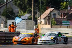 #90 8 Star Motorsports Ferrari 458 Italia: Frankie Montecalvo, Gianluca Roda, Paolo Ruberti, #67 IMSA Performance Matmut Porsche 911 GT3 RSR (997): Erik Marris, Jean-Marc Merlin, Eric Helary