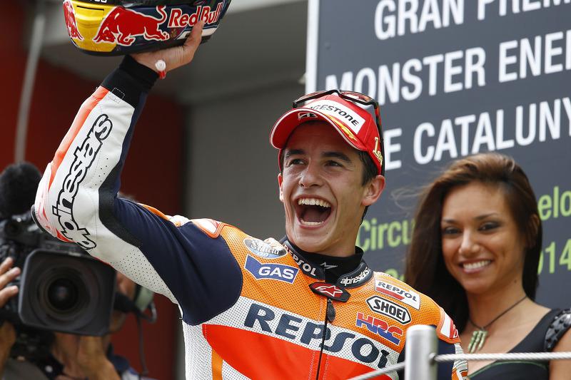 Podio: 1º Marc Márquez, 2º Valentino Rossi, 3º Dani Pedrosa