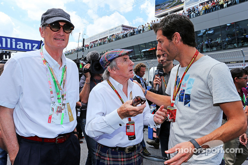 (L to R): Sir James Dyson, Inventor, with Jackie Stewart, and Mark Webber, Porsche Team WEC Driver o
