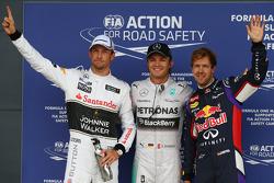 Ganador de la pole Nico Rosberg, segundo Jenson Button, tercero Sebastian Vettel