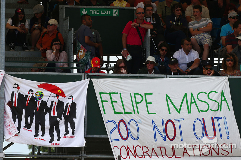 Banners for Felipe Massa, Williams, who is celebrating his 200th GP
