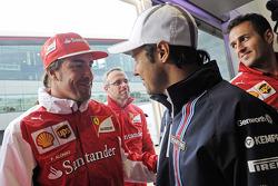 Felipe Massa, Williams, celebrates his 200th GP with Fernando Alonso, Ferrari