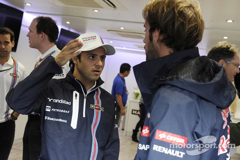 Felipe Massa, Williams celebrates his 200th GP with Jean-Eric Vergne, Scuderia Toro Rosso