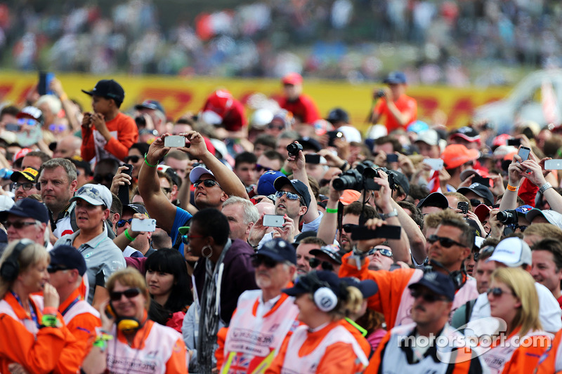 Fans invade the circuit after the race