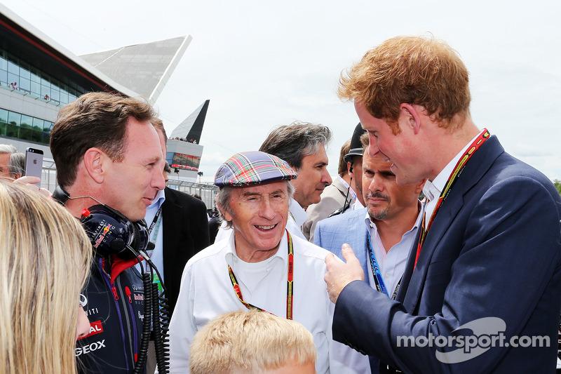 Christian Horner, Red Bull Racing Takım Patronu ve Jackie Stewart, gridde