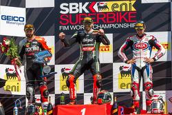 Race 2 podium: 1st place Tom Sykes, 2nd place Sylvain Guintoli, 3rd place Jonathan Rea