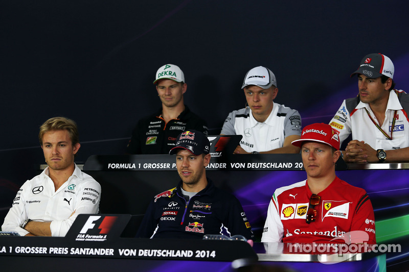 The FIA Press Conference: Nico Hulkenberg, Sahara Force India F1; Kevin Magnussen, McLaren; Adrian Sutil, Sauber; Nico Rosberg, Mercedes AMG F1; Sebastian Vettel, Red Bull Racing; Kimi Raikkonen, Ferrari