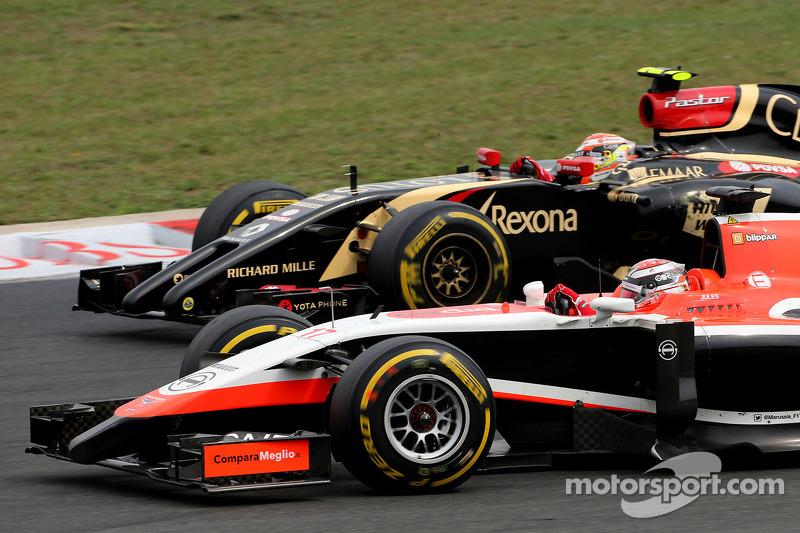 Jules Bianchi, Marussia F1 Team; Pastor Maldonado, Lotus F1 Team
