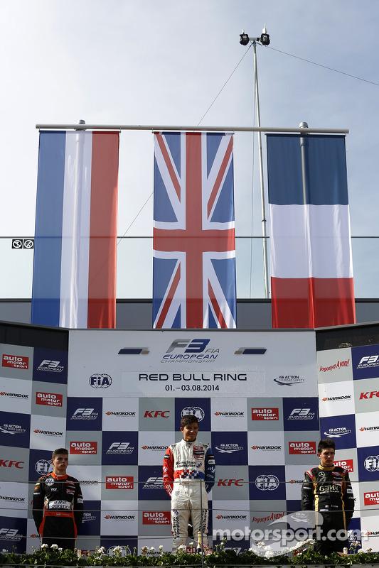 Rookie podium: vencedor Jake Dennis, segundo lugar Max Verstappen, terceiro lugar Esteban Ocon
