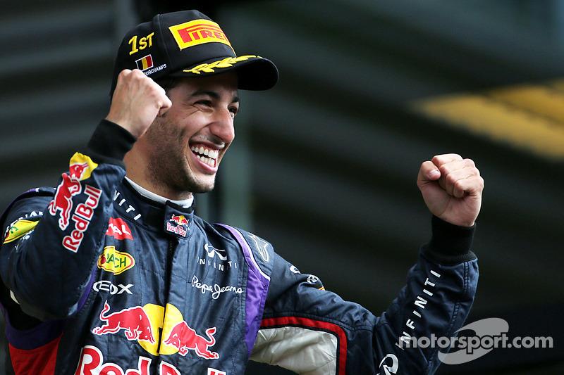 Victoria de Daniel Ricciardo, Red Bull Racing 08, en el GP de Bélgica 2014