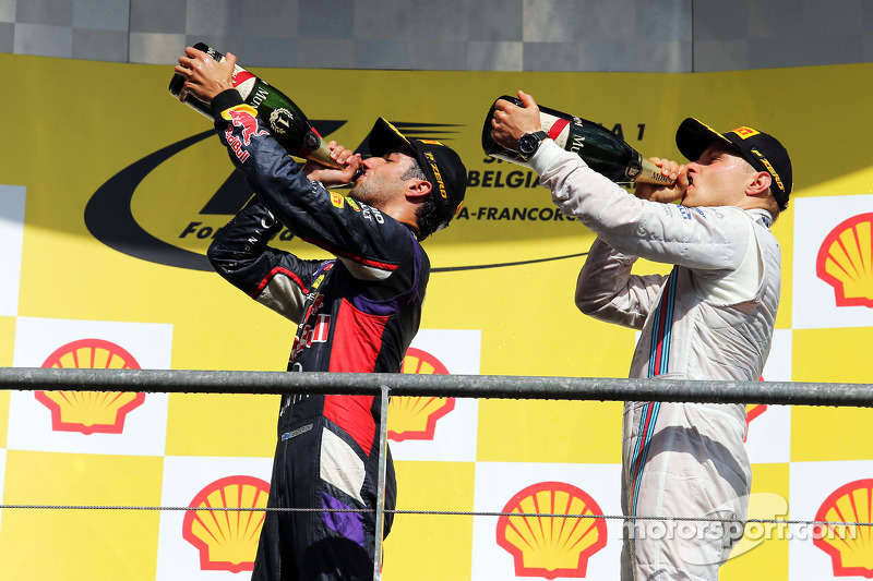 (L to R): Race winner Daniel Ricciardo, Red Bull Racing celebrates with third placed Valtteri Bottas
