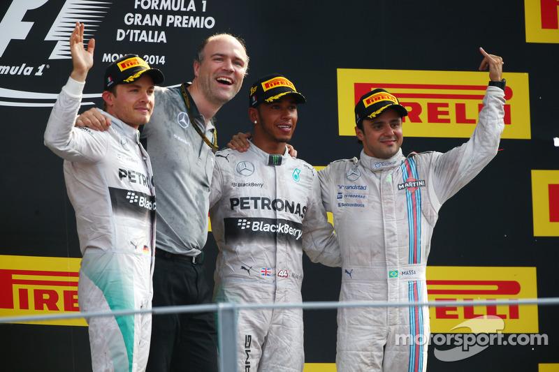 Podio: ganador de la carrera Lewis Hamilton, de Mercedes AMG F1, segundo puesto de Nico Rosberg, de Mercedes AMG F1 y el tercer puesto de Felipe Massa, Williams