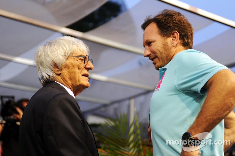 (L to R): Bernie Ecclestone, with Christian Horner, Red Bull Racing Team Principal