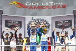 P1 podium: winners Scott Pruett, Memo Rojas, second place Alex Brundle, Gustavo Yacaman, third place Christian Fittipaldi, Joao Barbosa