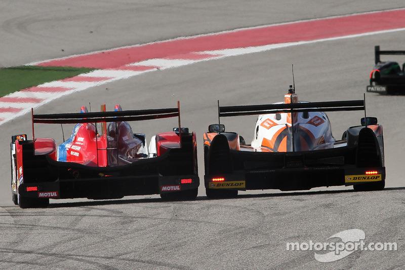 #27 SMP Racing Oreca 03 - 日产: 谢尔盖·兹洛宾, 尼古拉·米纳西安, 毛里奇奥·梅迪安尼 和 #26 G-Drive Racing Ligier JS P2 - 日产: 罗曼·鲁斯诺夫, 奥利弗·普拉, 朱利安·卡纳尔