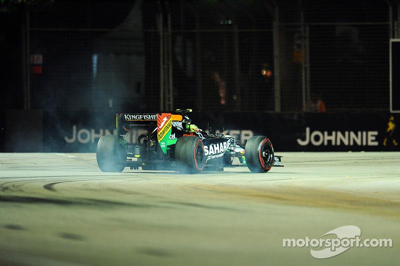 Sergio Perez, Sahara Force India F1 VJM07, frenata con bloccaggio
