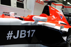 The Marussia F1 Team MR03 of Jules Bianchi, carries messages of support, with the hashtags #ForzaJules and #JB17