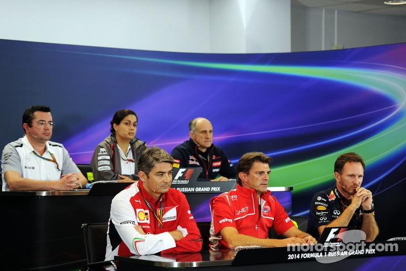 La conferenza stampa FIA: Eric Boullier, McLaren Racing Director; Monisha Kaltenborn, Sauber Team Principal; Franz Tost, Scuderia Toro Rosso Team Principal; Marco Mattiacci, Ferrari Team Principal; Graeme Lowdon, Marussia F1 Team Amministratore Delegato;