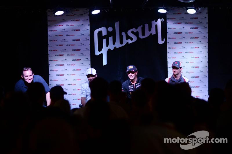 (L to R): Felipe Massa, Williams; Sergio Perez, Sahara Force India F1; and Esteban Gutierrez, Sauber