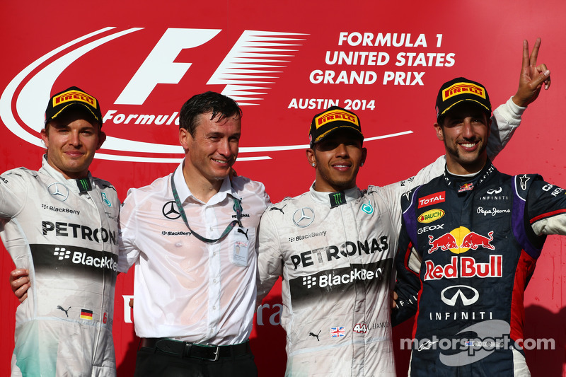 1st place for Lewis Hamilton, Mercedes AMG F1 W05, 2nd place for Nico Rosberg, Mercedes AMG F1 W05 a