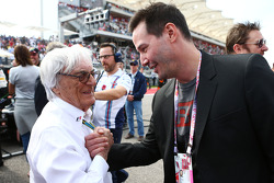 (L to R): Bernie Ecclestone, with  Keanu Reeves, Actor on the grid