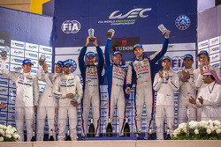 LMP1 Podium: 1st place Alexander Wurz, Stéphane Sarrazin, Mike Conway; 2nd place Romain Dumas, Neel Jani, Marc Lieb; 3rd place Timo Bernhard, Mark Webber, Brendon Hartley