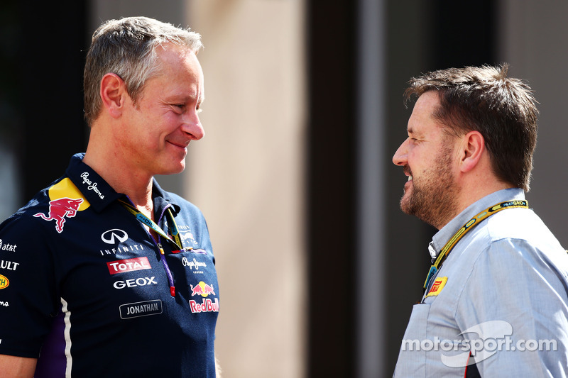 (L to R): Jonathan Wheatley, Red Bull Racing Team Manager with Paul Hembery, Pirelli Motorsport Director