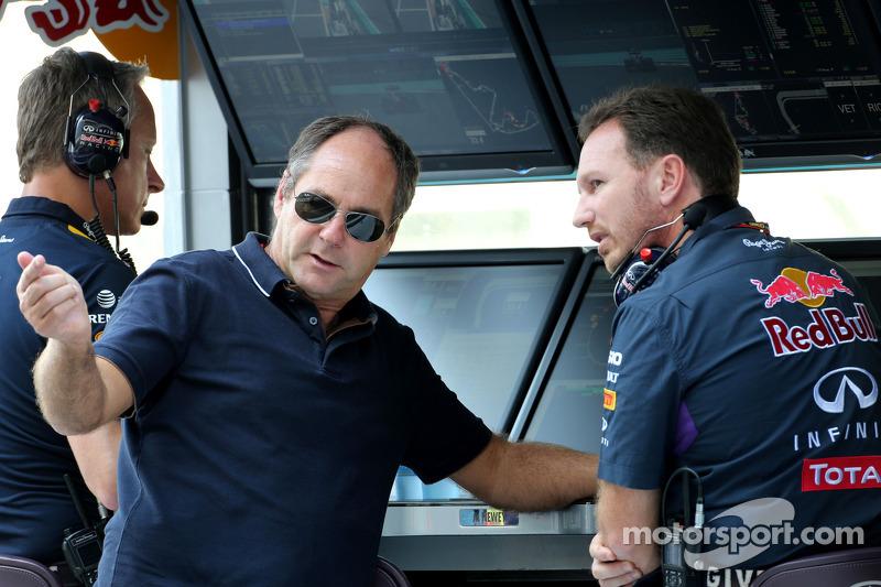 Gerhard Berger; Christian Horner, Red Bull Racing, Teamchef
