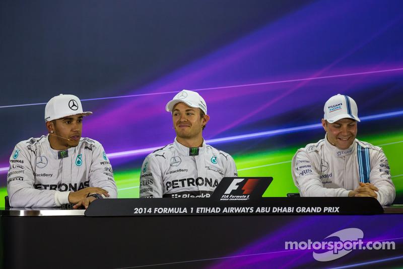 Conferenza stampa della FIA post qualifiche: Lewis Hamilton, Mercedes AMG F1, secondo; Nico Rosberg, Mercedes AMG F1, pole position; Valtteri Bottas, Williams, terzo