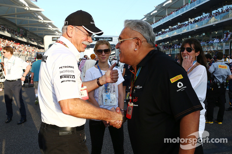 (L to R): Dr. Dieter Zetsche, Daimler AG CEO with Dr. Vijay Mallya, Sahara Force India F1 Team Owner