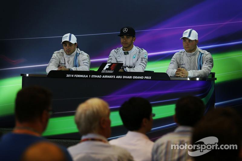 Conferenza stampa della FIA post gara: Felipe Massa, Williams, secondo; Lewis Hamilton, Mercedes AMG F1, vincitore della gara e campione del mondo; Valtteri Bottas, Williams, terzo