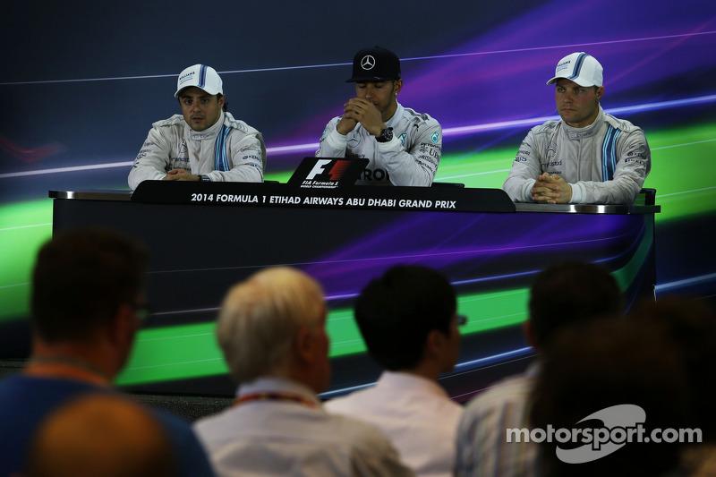 Conferencia post carrera: Felipe Massa, Williams, segundo; Lewis Hamilton, Mercedes AMG F1, el ganador y Campeón del Mundo; Valtteri Bottas, Williams, tercero