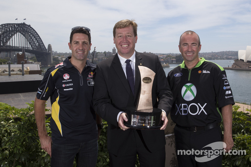 Deputy Premier and Minister for Tourism & Major Events Troy Grant with drivers Marcos Ambrose and Jamie Whincup