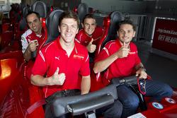 Giancarlo Fisichella, James Calado y Davide Rigon at Ferrari World