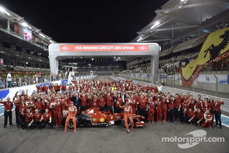 Ferrari group photo with Kimi Raikkonen and Marc Gene