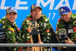 LMGTE Am podium: winners Julien Andlauer, Matt Campbell, Proton Competition, Patrick Dempsey, Dempsey Proton Competition