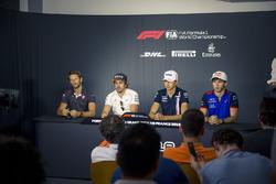 Romain Grosjean, Haas F1, Fernando Alonso, McLaren, Esteban Ocon, Force India F1 et Pierre Gasly, Scuderia Toro Rosso en conférence de presse