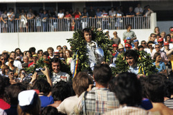 Podium: winner Jackie Stewart, second place Francois Cevert, third place Emerson Fittipaldi