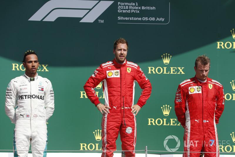 Lewis Hamilton, Mercedes-AMG F1, Sebastian Vettel, Ferrari and Kimi Raikkonen, Ferrari