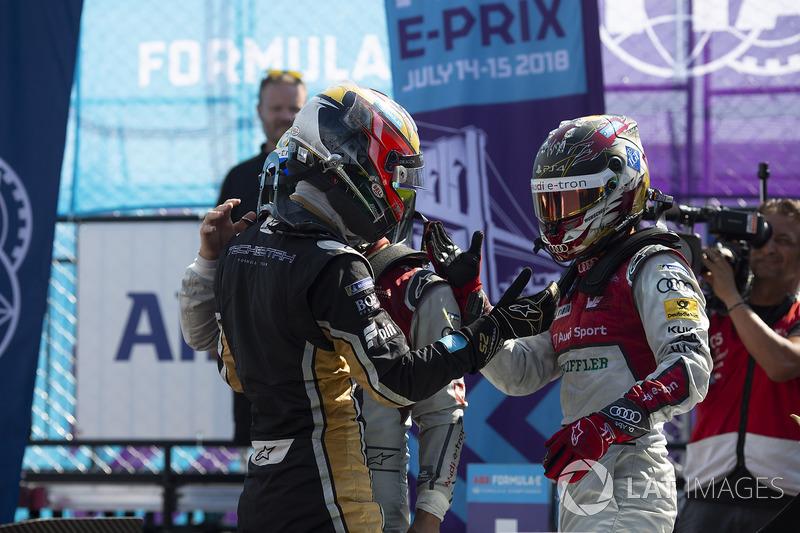 Jean-Eric Vergne, Techeetah, gana seguido de Lucas di Grassi, Audi Sport ABT Schaeffler, Daniel Abt, Audi Sport ABT Schaeffler